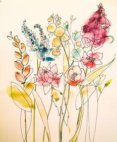 Flowers by Deborah Freriks. #flowers #watercolour #illustration #illustratie #deborahfreriks