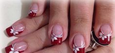 Xmas Nails, Red Nails, Christmas Nails, French Tip Nail Designs, Toe Nail Designs, French Manicure Nails, French Tip Nails, Fancy Nails, Pretty Nails