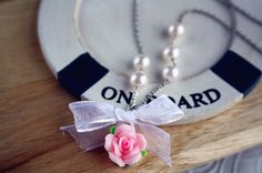 Flower bow pearl necklace handmade clay rose chiffon ribbon charm by missvirgouk, $13.00