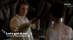 Jamie toasts Claire, to which she accepts by trying to out-drink him 3 to 1.  He's a Scot, I don't think she has the ability.