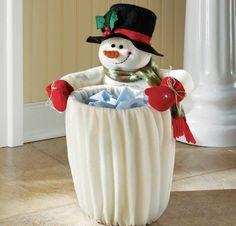 Plush Fleece Snowman Trash Can Slip Cover Christmas