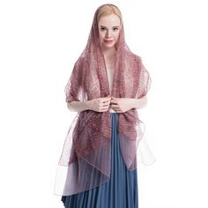 """Product: Long Soft Lightweight Silk Scarf/Shawl Color: Rosewood Pink Size: 74'' X  23""""  Weight: 3.5 Ounce   Material: Polyester Silk  Price: $12.99  Gift Wrap available, and 30% off during Labor Day."""