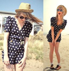 Playsuit, Sunglasses, Mans Straw Hat, Clock Necklace, Frilly Socks, Brogues