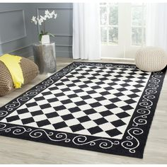 Safavieh Hand-hooked Diamond Black/ Ivory Wool Rug (8' Square), Size 8' x 8' (Cotton, Check)