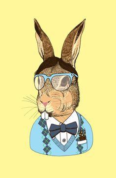 Nerd Bunny Art Print