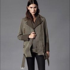 Free shipping! NWT • ALLSAINTS Biker Jacket ALLSAINT BIKER JACKET. Awesome khaki, olive green color. Made of Italian fabric. Love it, but bought the only size left & it just doesn't fit me :( Size US 4 (UK8). NWT. No Trades. All Saints Jackets & Coats Utility Jackets