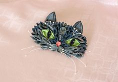 ReservedCat kanzashi hair clip by AlkatoCrafts on Etsy