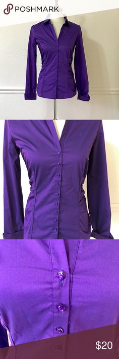 NEW YORK & COMPANY Purple Button Down NEW YORK & COMPANY Size S EUC Stretchy fit, button down and collared blouse Long sleeve Very pretty jewel buttons Great for work/career dress  Bundle and save See my other listings from TOPSHOP, LULULEMON, KATE SPADE, MARC JACOBS, FOR LOVE & LEMONS, ANTHROPOLOGIE, ZARA, FREE PEOPLE, BANANA REPUBLIC + more! New York & Company Tops Button Down Shirts