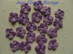 Fleurs au crochet, 2 cm, lot de 20, en coton ton mauve, appliques : Ecussons…