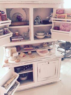 Dollhouse miniature filled baking hutch