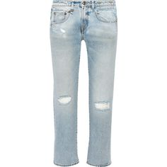 R13 Cropped distressed mid-rise boyfriend jeans (4,025 MXN) ❤ liked on Polyvore featuring jeans, light denim, mid rise boyfriend jeans, blue ripped jeans, blue jeans, torn boyfriend jeans and low-rise boyfriend jeans