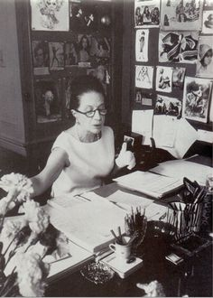 Diana Vreeland in her office at Vogue. She was Editor in Chief from 1962 to 1971 and had a great influence on the fashions of the 60's as well as launching the careers of many iconic figures of that time.