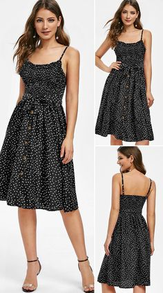 Polka Dot Smocked Midi A Line Dress * elegant, elegance, stylish party outfits, glamours outfits, evening dresses elegan Stylish Dresses, Elegant Dresses, Pretty Dresses, Beautiful Dresses, Casual Dresses, Dresses Dresses, Summer Dresses, Formal Evening Dresses, Evening Gowns