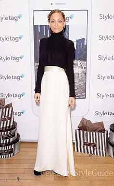 Seen on Celebrity Style Guide: Nicole Richie looked flawless in New York today wearing this black, cropped knit turtleneck with a cream maxi skirt to the Styletag Launch Get It Here: http://rstyle.me/n/drkx8mxbn
