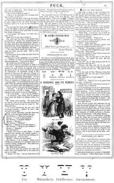 Смайлики (Puck Magazine, 1881)    Смайлики.   Смайлики впервые появились 30 марта 1881 года. В статье о искусстве типографии были предложены схематичные варианты выражения эмоций - радости, тоски, равнодушия и удивления.