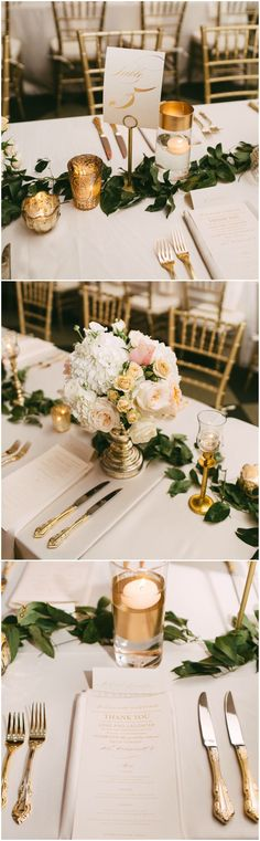 Indoor wedding reception, gold flatware, classic wedding table design, peach and white floral centerpieces, Southern wedding, gold table numbers, loose leaves // Kelly Ginn Photography
