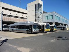 MBTA Silver Line Neoplan Dual-Mode Artic bus-trackless 1118, MBTA New Flyer DE60LFR Artic bus 1207, MBTA Neoplan AN460LF Artic bus 1029, MBTA Silver Line New Flyer C40LF buses 6008 & 6015 at the Southampton St. Garage | b