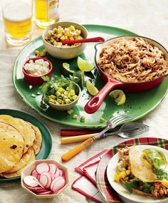 Slow-Cooker Pork Tacos Al Pastor with All the Fixings starts by slow-cooking pork shoulder in an aromatic bath of pineapple, beer, and canned Slow Cooker Bbq, Best Slow Cooker, Slow Cooker Recipes, Crockpot Meals, Slower Cooker, Beef Recipes, Leftover Pork Recipes, Pulled Pork Recipes, One Pot Dinners