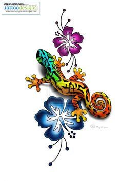 This is the one that I want!!!    Gecko Tattoo Colour By Lauzon