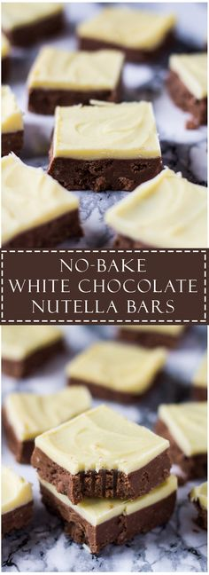No-Bake White Chocolate Nutella Bars ! Deliciously creamy and fudgy no-bake Nutella bars topped with white chocolate! Easy Desserts, Delicious Desserts, Dessert Recipes, Desserts Homemade, No Bake Desserts, Cake Recipes, Nutella Bar, Nutella Slice, No Bake Treats