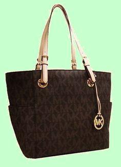 MICHAEL KORS MK LOGO Signature Brown PVC & Leather Tote Bag Msrp $198 *FREE S/H*