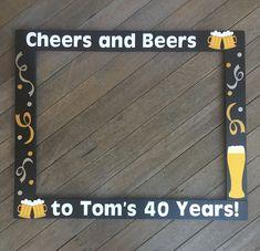 Cheers and Beers Birthday Photobooth - Birthday Photo Booth - Birthday Frame Prop - Birthday Photobooth 60th Birthday Ideas For Dad, Beer Birthday Party, Birthday Decorations For Men, Forty Birthday, 30th Birthday Parties, Dad Birthday, Birthday Photo Booths, Birthday Frames, Montage Photo