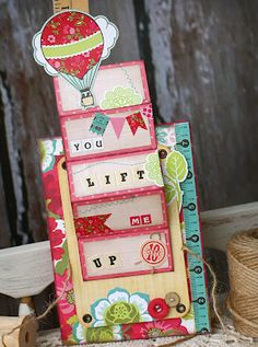 Accordion Fold pull up hot air balloon for 4 part message echo park paper co.: Interactive Card with Design Team Expert Tamara Tripodi Pop Up Cards, Cool Cards, Diy Cards, Fancy Fold Cards, Folded Cards, Step Card, Interactive Cards, Scrapbook Cards, Scrapbooking
