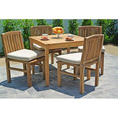 Willow Creek Designs Huntington 5 Piece Dining Set with Cushions Cushion Color: Heather Beige