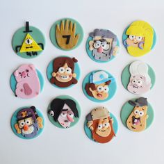 gravity falls themed fondant cupcake toppers!