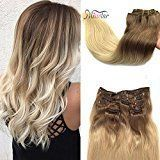 Misstar 16inch Ombre Seamless Clip in Real Human Hair Extensions Light Brown to Blonde Thick Clip in Hair Extensions #6/613 7pc 120g