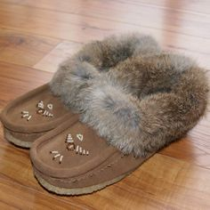 99394cc7831 Women s Genuine Suede Leather Moccasins with Rabbit Fur Trim - 13677 Ladies Moccasin  Slippers