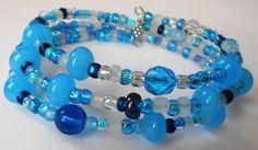 New jewelry - unique, handmade bead memory wire bracelet! Bright Blue Memory Wire Bracelet by VineDesignBeads on Etsy, $14.00