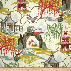 AmazonSmile: Robert Allen @ Home Neo Toile Coral Fabric By The Yard