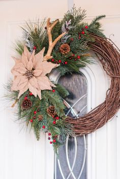 Rustic Christmas Wreath - Front Door Wreath - Holiday Wreath - Grapevine Wreath - Burlap Poinsettia Wreath by DianasFloralDesign on Etsy https://www.etsy.com/listing/568715435/rustic-christmas-wreath-front-door