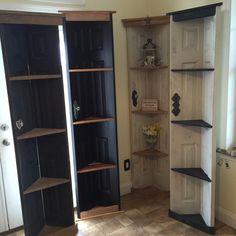 Custom Old Door Corner Accent Shelf, Bookcase, Country Home Decor, Vintage  Cabinet