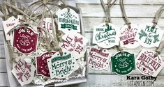 Quick and simple Christmas tags using Christmas Traditions Punch Box from Stampin' Up!. Visit iStampin.com to learn more. Christmas Party Drinks, Christmas Punch, Christmas Card Crafts, Simple Christmas, Family Christmas, Handmade Christmas, Holiday Cards, Xmas, Christmas Ornaments