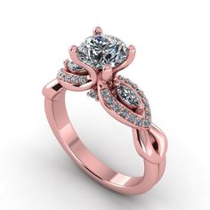 Rose gold diamonds and moissanite engagement ring,anniversary ring