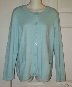 Womens Prive Cashmere Sweater L Large Light Aqua Blue Cardigan Button Front | eBay