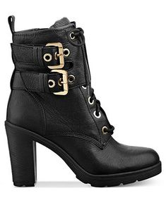 GUESS Women's Boots, Finlay High Heel Combat Booties - Boots - Shoes - Macy's