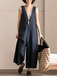 Blue V-Neck Causal Cotton Linen Oversize Overalls Women Clothes Casual Pure Color Sleeveless Jumpsuits For Women Sewing Clothes, Diy Clothes, Clothes For Women, Look Fashion, Womens Fashion, Fashion 2018, Fall Fashion, Fashion Ideas, Overalls Women