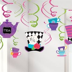 Mad hatter tea party, alice in wonderland, alice party decorations, mad hatter birthday party supplies, ceiling decorations, party decoratio