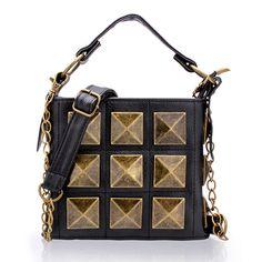 PU Leather Rivets Handbag Crossbody Bag