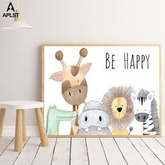 """""""Be Happy Nursery Room Prints Painting On Canvas Animals Hippo Giraffe Monkey Lion Poster Picture Home Decor for Kids Baby Room"""" Nursery Room Decor, Nursery Wall Art, Canvas Wall Art, Baby Room Art, Monkey Nursery, Elephant Nursery Art, Baby Wall Decor, Jungle Nursery, Canvas Poster"""