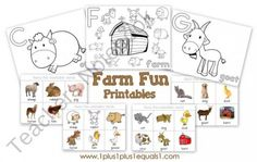 Farm Fun Printables from 1plus1plus1equals1 on TeachersNotebook.com (17 pages)