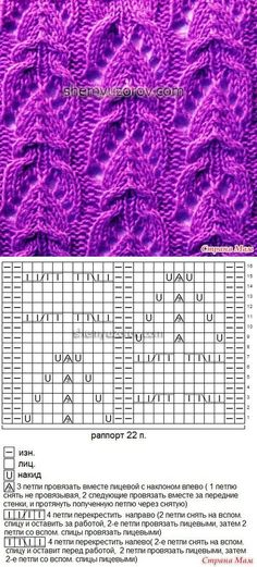 Lace knitting pattern Nr 67. The double decrease appears to be an