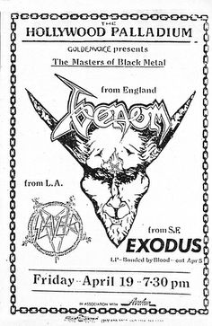 Venom, Slayer and Exodus - Flyer from Ultimate Revenge Tour 1985 Tour Posters, Band Posters, Music Posters, Black Metal, Venom Band, Concert Flyer, Metal Albums, Heavy Metal Music, Poster