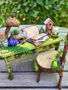 garden desk and chair dollhouse furniture fae desk and garden desk and chair dollhouse furniture fae desk and Miniature Fairy shelf, woodland fairy furniture and accessories Fairy Houses Kids, Fairy Garden Houses, Fairy Garden Furniture, Fairy Tree, Mini Fairy Garden, Fairy Crafts, Ideias Diy, Woodland Fairy, Fairy Garden Accessories
