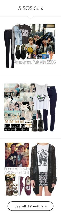 """""""5 SOS Sets"""" by imperfect-person ❤ liked on Polyvore featuring James Jeans, American Eagle Outfitters, Vans, Smashbox, Marvel Comics, CO, women's clothing, women's fashion, women and female"""