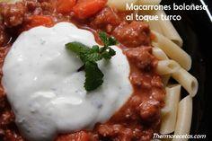 Macarrones a la boloñesa al toque turco en thermorecetas. #macarrones #recetas #thermomix #pasta