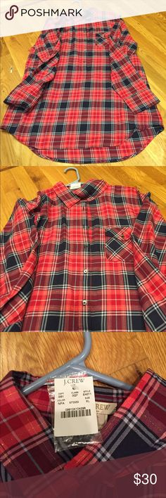 NWT J Crew plaid dress/tunic NWT plaid JCrew dress that can also be worn as a tunic! The sleeves can be rolled up so it's great for and season, super light weight material and very flowy! J. Crew Dresses Long Sleeve